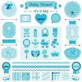 Boy baby shower set of elements for design.