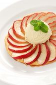 french apple tart, flat apple pie with ice cream