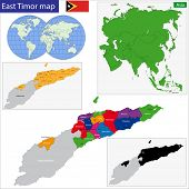 Map of Democratic Republic of Timor-Leste with the districts and the capital cities