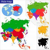 picture of south east asia  - Colorful Asia map with country borders - JPG