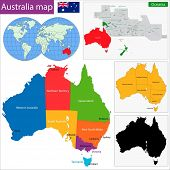 image of darwin  - Colorful Australia map with regions and main cities - JPG