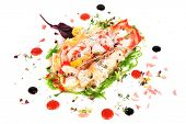 Lobster salad in japanese style with chuka seaweed and tobico