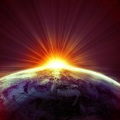 image of planet earth  - sunset on planet earth in outer space - JPG