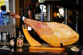 Jamon Serrano on bar counter, Malaga.