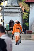 Sadhu Man At The Holy Hindu Temple Of Pashupatinath. Nepal