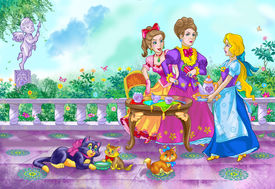 stock photo of stepmother  - drawing of fairy tale heroine and her stepmother and sister - JPG
