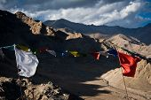 Buddhist Praying Flags Flapping In The Wind