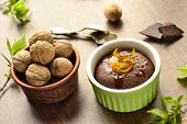 Chocolate and nut pudding