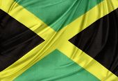 foto of jamaican  - Closeup of silky Jamaican flag - JPG
