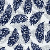 Seamless  pattern with hand drawn feathers peacock.