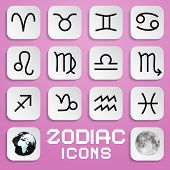 Vector Paper Zodiac, Horoscope Square Symbols on Pink Background