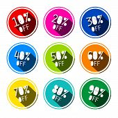 Colorful Vector Discount Stickers - Labels Set