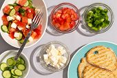 Healthy Mediterranean Salad With Toast