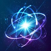 stock photo of atom  - Vector shining neon lights cosmic atom model - JPG