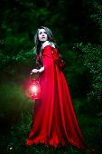 stock photo of stroll  - beautiful woman with red cloak and lantern in the woods - JPG