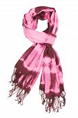 A scarf lilac with an abstract pattern isolated, on a white background