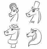 Vector Line Illustration Of A Horses - The Symbol Of 2014