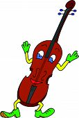 Violin cartoon illustration with hands, legs, eyes and smile