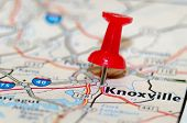 stock photo of knoxville tennessee  - a knoxville city pin on the map - JPG