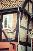 Half Timbered Traditional House In Ribe Denmark