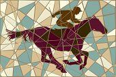 Editable vector colorful mosaic illustration of a jockey riding a racing horse