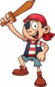Pirate kid holding a wooden sword. Vector clip art illustration with simple gradients. All in a sing