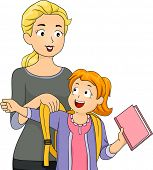 Illustration of a Mother Helping Her Daughter Put on Her Schoolbag