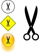 scissors symbol and yellow sign and button