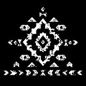 White aztec ornament on black geometric ethnic illustration, vector
