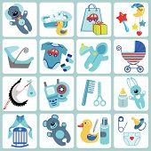 Cute Cartoons Icons For Baby Boy.newborn Set
