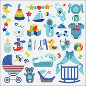 stock photo of diaper  - A set of cute items for Newborn Baby - JPG
