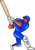 picture of cricket bat  - Illustration of a India cricket player batsman with bat batting colors done in cartoon style on isolated background - JPG