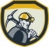 Coal Miner Hardhat Holding Pick Axe Shield Retro