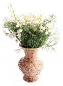Beautiful lilies of the valley in vase, isolated on white