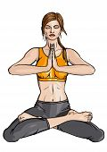 picture of namaste  - Illustration girl doing yoga exercise in padmasana with namaste hands - JPG