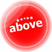 Above Word Red Stickers Icon Button