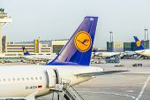 Lufthansa Aircrafts Standing At The Terminal 1 At Frankfurt Airport