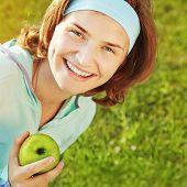 sporty smiling woman