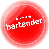Bartender Word On Stickers Red Button, Business Label