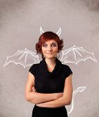 image of nasty  - Young nasty girl with devil horns and wings drawing - JPG