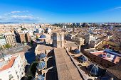 Valencia aerial skyline with Plaza de la virgen and Cathedral at Spain