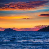 Benidorm sunset skyline view from Calpe Alicante in Mediterranean Spain