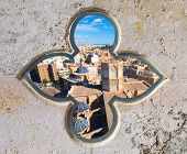 Valencia aerial skyline with Plaza de la virgen and Cathedral at Spain photomount
