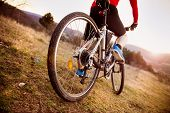 stock photo of bike path  - Detail of cyclist man feet riding mountain bike on outdoor trail in sunny meadow - JPG
