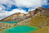 View at beautiful Emerald lakes on Tongariro Crossing track, Tongariro National Park, New Zealand