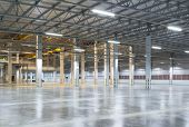 image of concrete  - Empty factory background with concrete floor - JPG