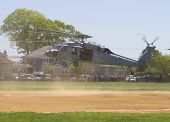 MH-60S helicopter from Helicopter Sea Combat Squadron Five with US Navy EOD team landing
