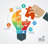 Creative vector template with a light bulb, puzzles, human hand and icons. Concept business ideas. poster