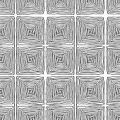Square Spiral Seamless Pattern In Black And White