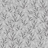 Plants Seamless Pattern In Black And White